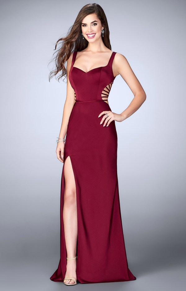La Femme 24155 - Jersey Knit Fitted Long Dress With Cut