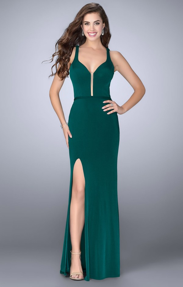 La Femme 24437 - Jersey Knit Dress With High Slit And Open
