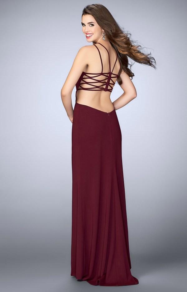 La Femme 24443 - Jersey Knit Halter Top Dress Prom
