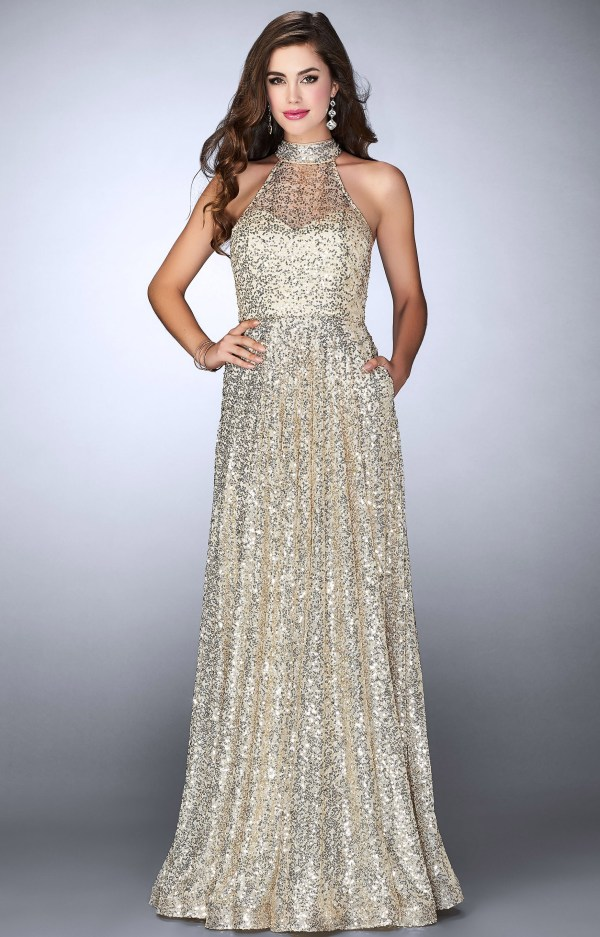 La Femme 24584 - Sleeveless Halter Sequined -line With