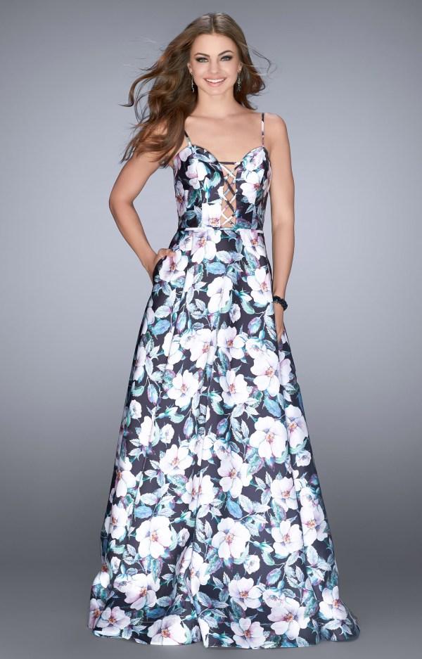 La Femme 24717 - Floral Print Lace Dress Prom