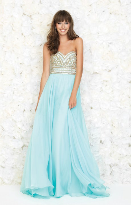 Baby Blue Prom Dress Ball Gown Sweetheart Bodice