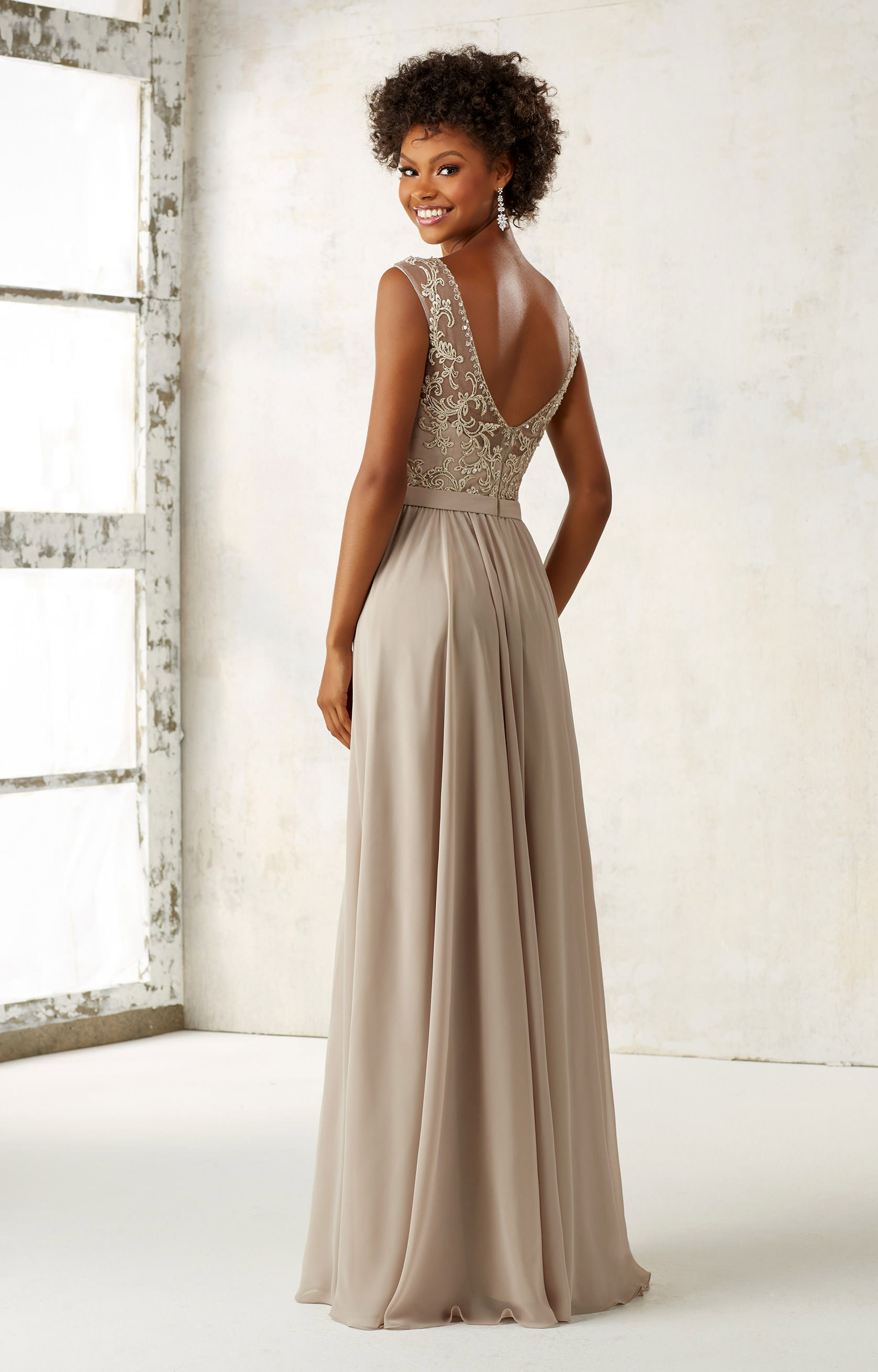Mori Lee Bridesmaid 21522  Modest Beaded Neck Gown