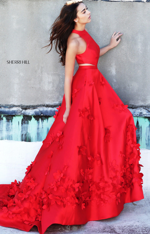 Sherri Hill 51116  Halter Neckline 3D Flower Long Dress Prom Dress