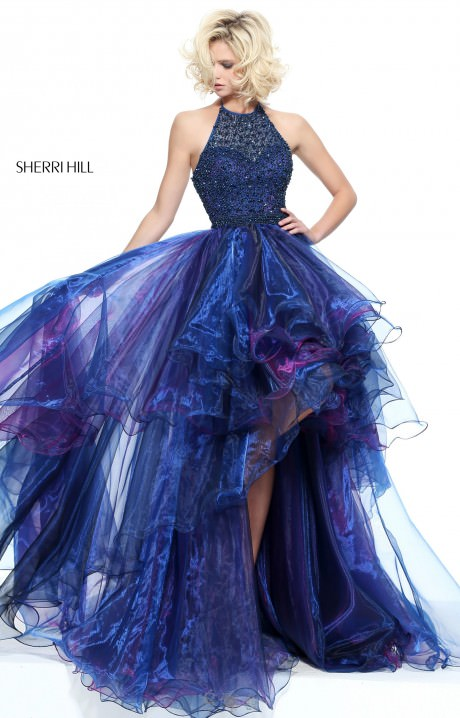 Sherri Hill 51140  HighLow Organza with Open Back Prom Dress