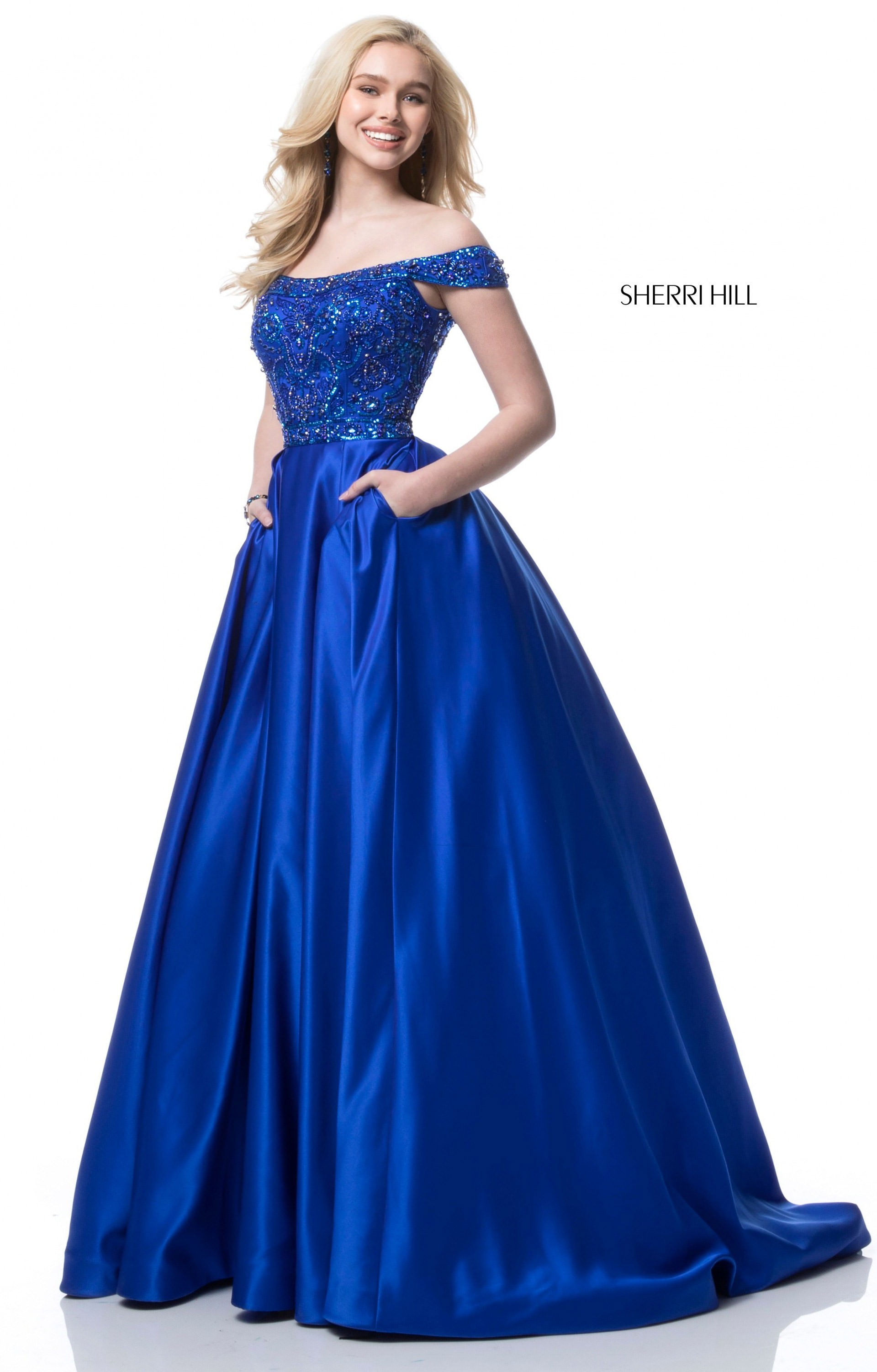 Sherri Hill 51610  Off the Shoulder Satin Ball Gown Prom Dress