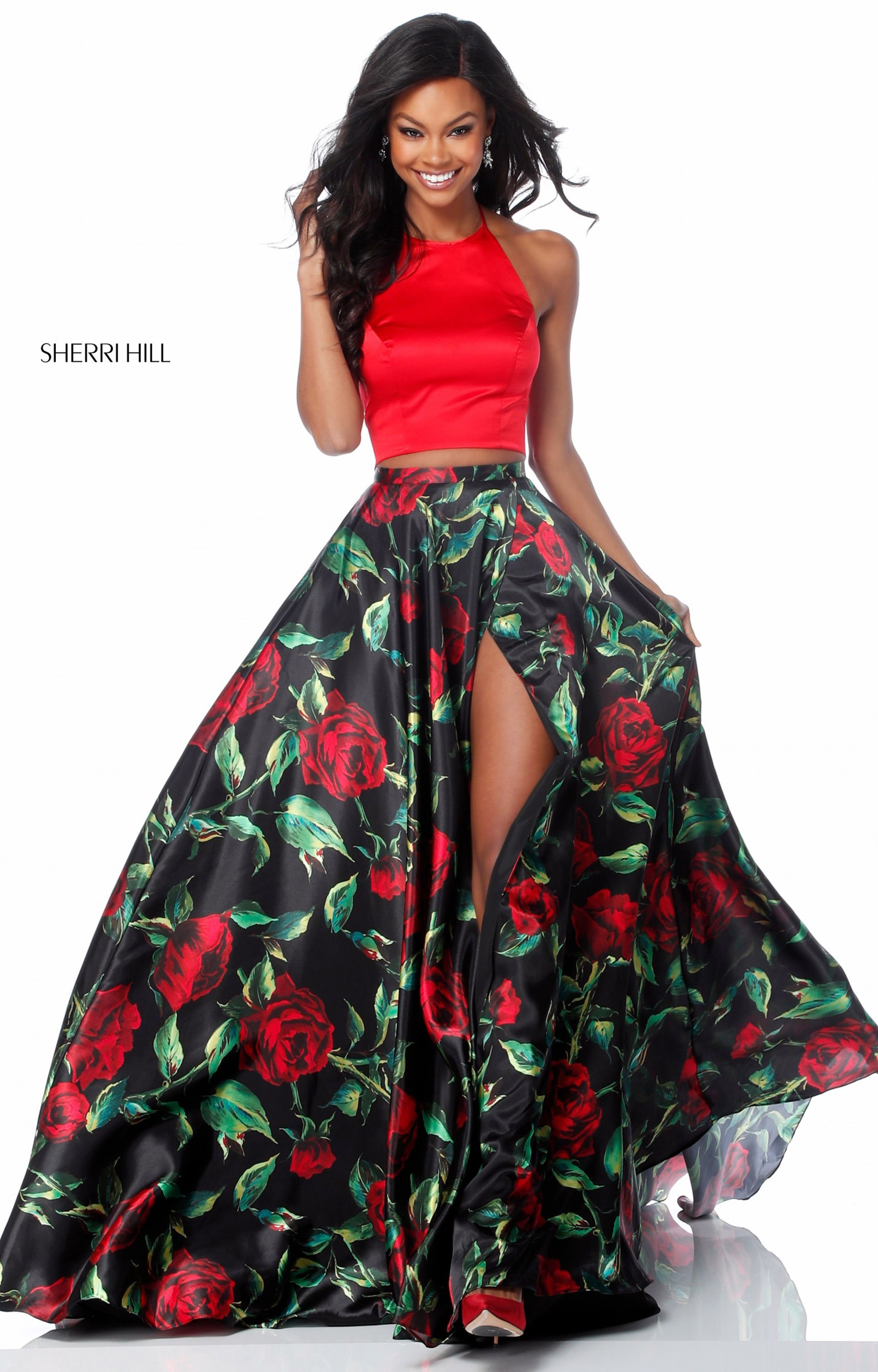 Sherri Hill 51870  2 Piece Floral Print ALine Prom Dress