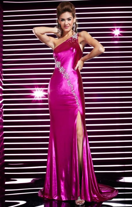 Studio 17 12296  Shiny Satin Gown Prom Dress