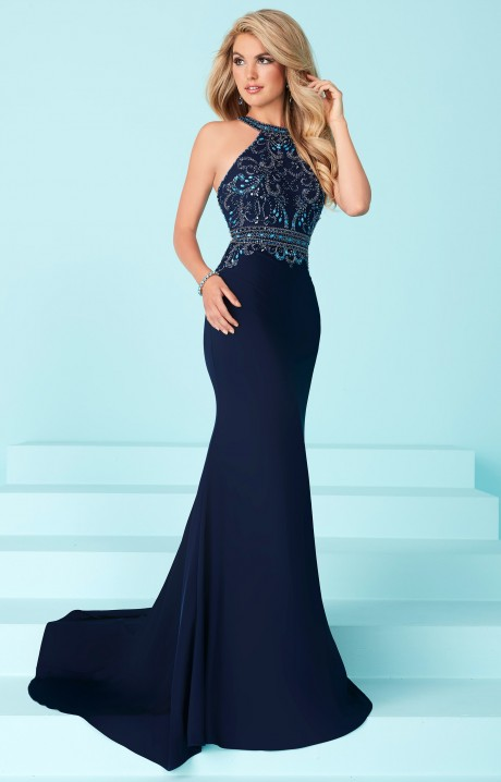 Tiffany Designs 16224  Beaded High Neck Fitted Stretch