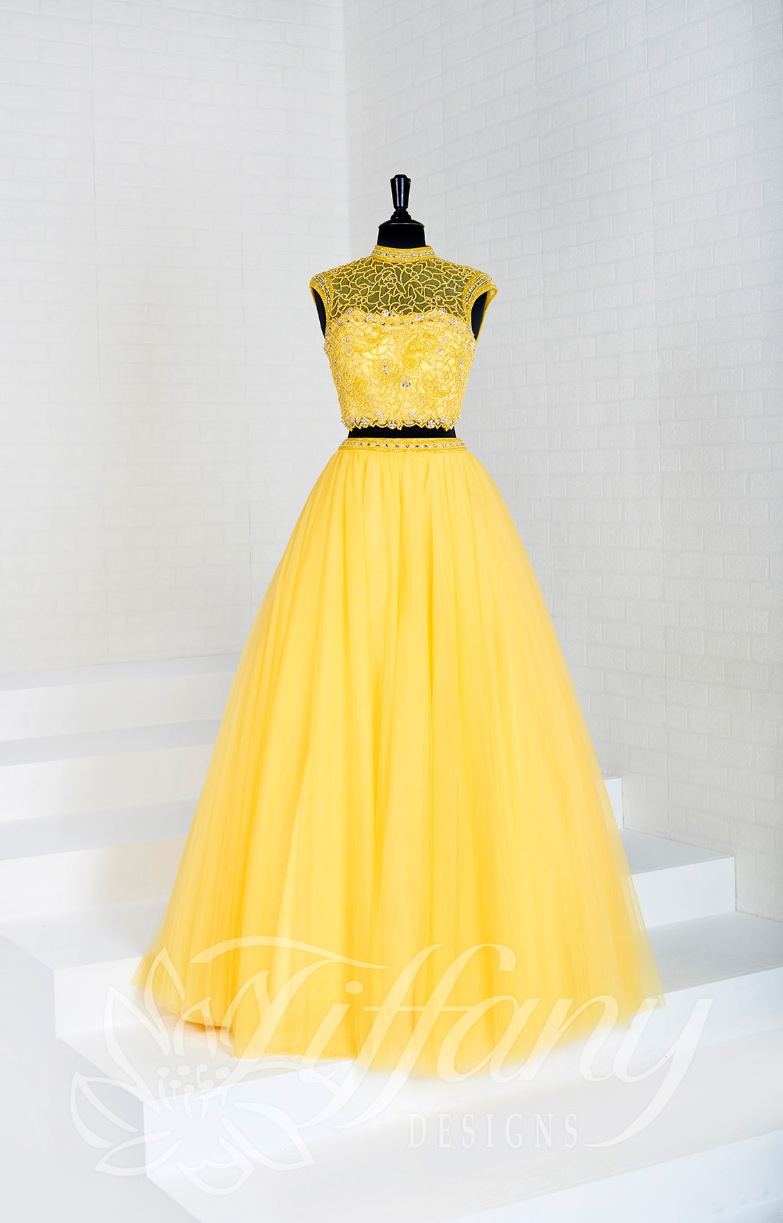 Tiffany Designs 16281  Long 2 Piece Tulle Ball Gown Prom Dress
