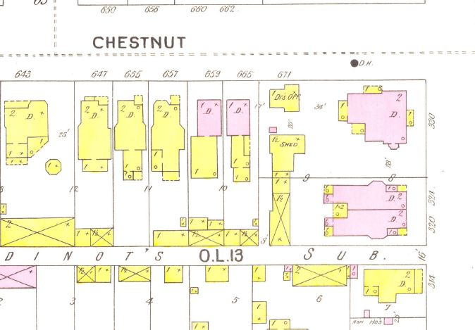 A portion of a city map for Terre Haute, Indiana showing the buildings. Yellow means wood construction and pink means brick or stone.