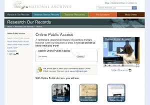 NARA's Online Public Access