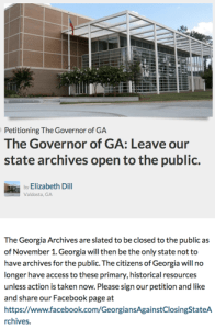 Georgia Archives Petition