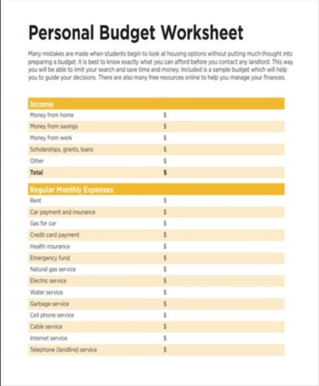 Personal Budget Template Examples