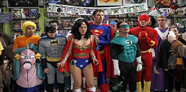 """""""The Justice League Recombination"""" -- The guys find a """"super"""" use for Penny's new boyfriend, Zack, when they enter a costume contest as the Justice League, on THE BIG BANG THEORY, Thursday, Dec. 16 (8:00-8:31 PM, ET/PT) on the CBS Television Network. Pictured (left to right): Kunal Nayyar (with seahorse), Simon Helberg, Kaley Cuoco, Brian Thomas Smith, Johnny Galecki and Jim Parsons.costumes courtesy DC ComicsPhoto: Cliff Lipson/CBS ©2010 Broadcasting Inc. All Rights Reserved"""