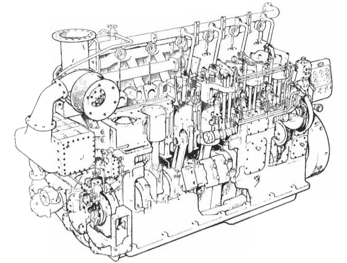 Marine auxiliary diesel engine general construction
