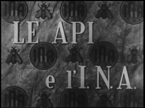 "Frames drawn from the film ""Le Api e l'INA"""