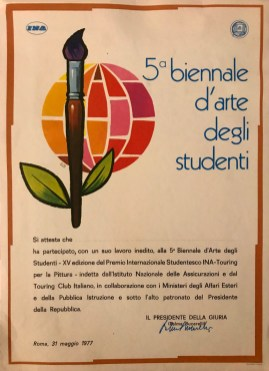 Certificate of attendance to the 5th biennial exhibition of student art signed by Palma Bucarelli, President of the Jury (1977)