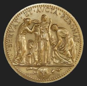 Gigi Supino, Medaglia del centenario, bronzo dorato (1931), Collezione d'arte Gruppo Generali, ph. Massimo Goina
