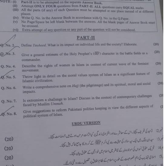 Islamic Studies Islamiat Paper CSS 2019
