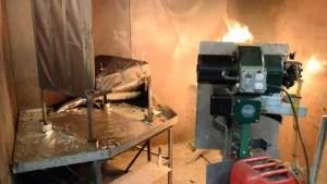 Seat oil burn test