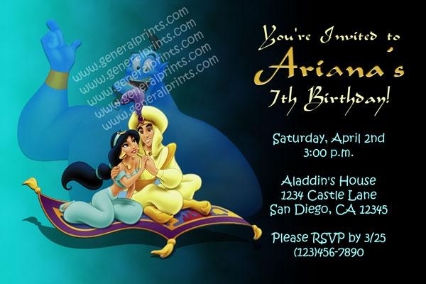 Aladdin Invitations  Princess Jasmine  General Prints