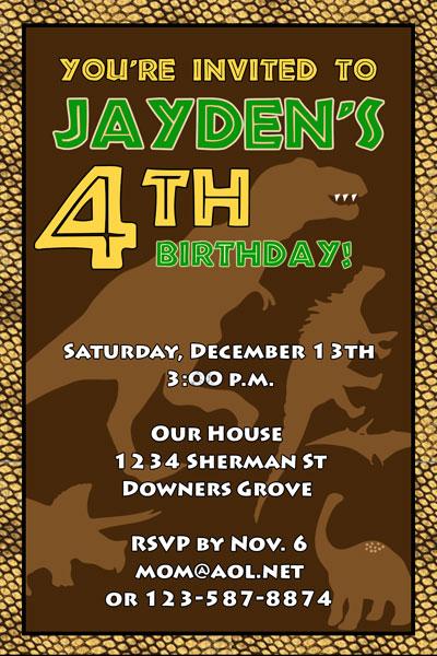 Birthday Invitations Dinosaur