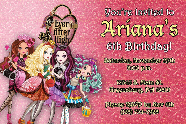 Ever After High Invitations From General Prints