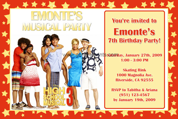 High School Musical Invitations General Prints