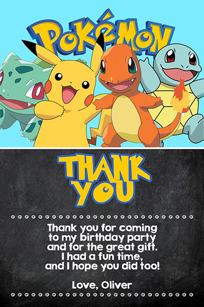 Pokemon Invitations With Pikachu And Ash General Prints