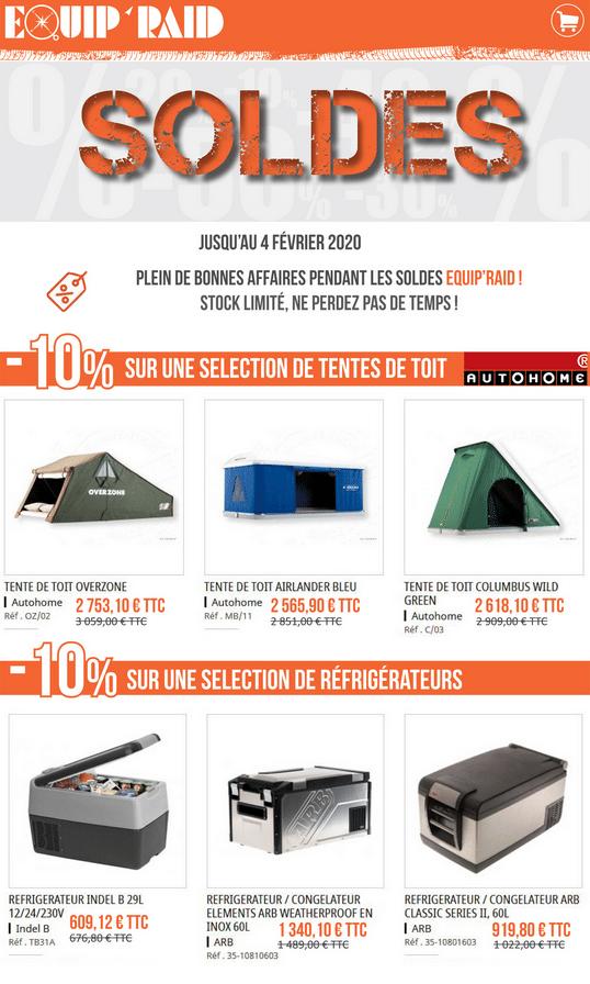 Equip'Raid -10% sur gammes équipements 4x4 Tentes et Frigos