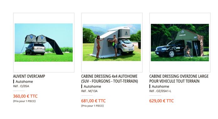 Equip'Raid Les tentes de toit en stock