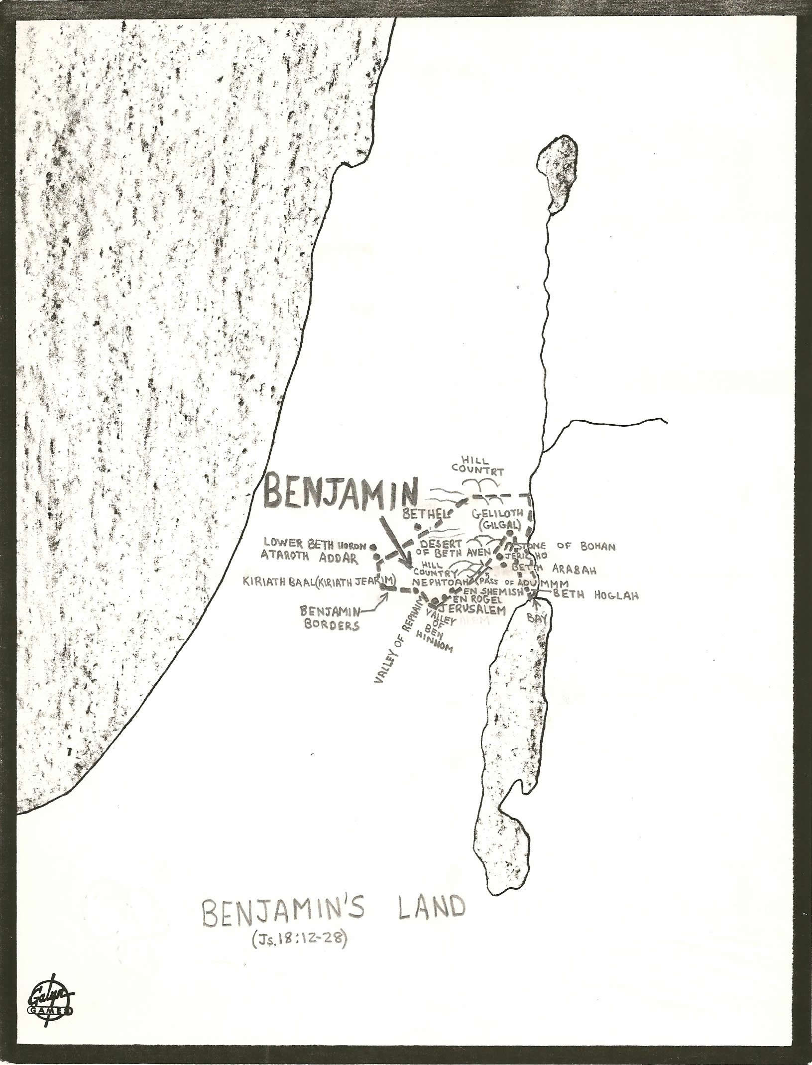 Map Of The Land Of The Tribe Of Benjamin Pictures To Pin