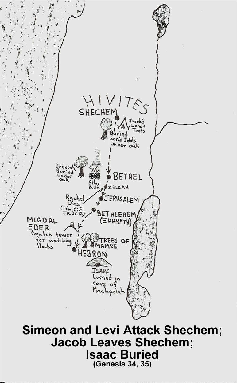 The path Jacob and family took while traveling from Shechem to Bethel to where Isaac was living.