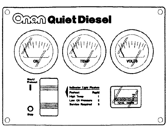 Cummins Onan Remote Gauge Panel RV QD 300-5027: Emergency