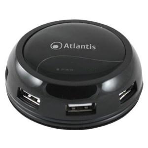 Hub Usb2.0 7p Atlantis P014-gh902-b Nero Lucido Con Alimentatore Ac E Cavo Avvolgibile - Ean 8026974014050 -garanzia 2 Anni-
