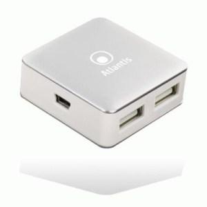 Hub Mini Usb2.0 4p Atlantis P014-uh28 Bianco/silver - Ean 8026974016016 - Garanzia 2 Anni-