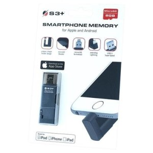 "Card Reader Lightning/musb/usb3.0 X Microsd (8gb Inclusa) Supp. Apple/android/win - S3+ S3spm0008gy ""smartphone Memory"""