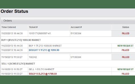 Generic Trader Online order status