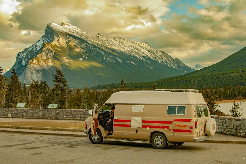 Camper van parked in front of Mount Rundle in Banff National Park
