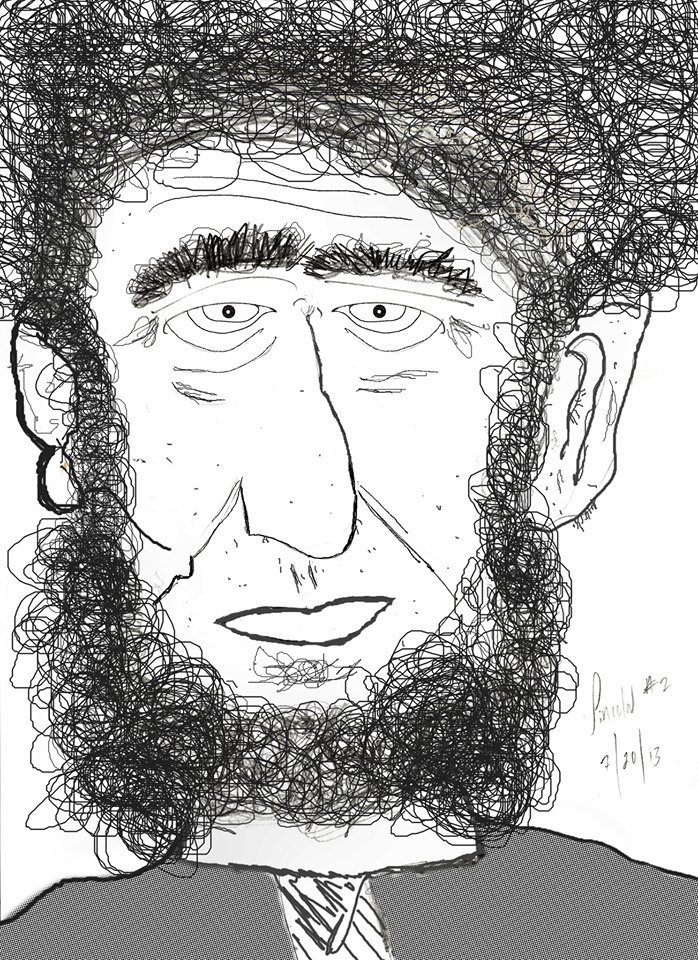 Looking through an old hard drive, I found this drawing. Lincoln as a hippy. 7/20/13. Copyright, Alarice Multimedia, LLC.