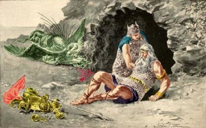 beowulf dies killing the winged dragon