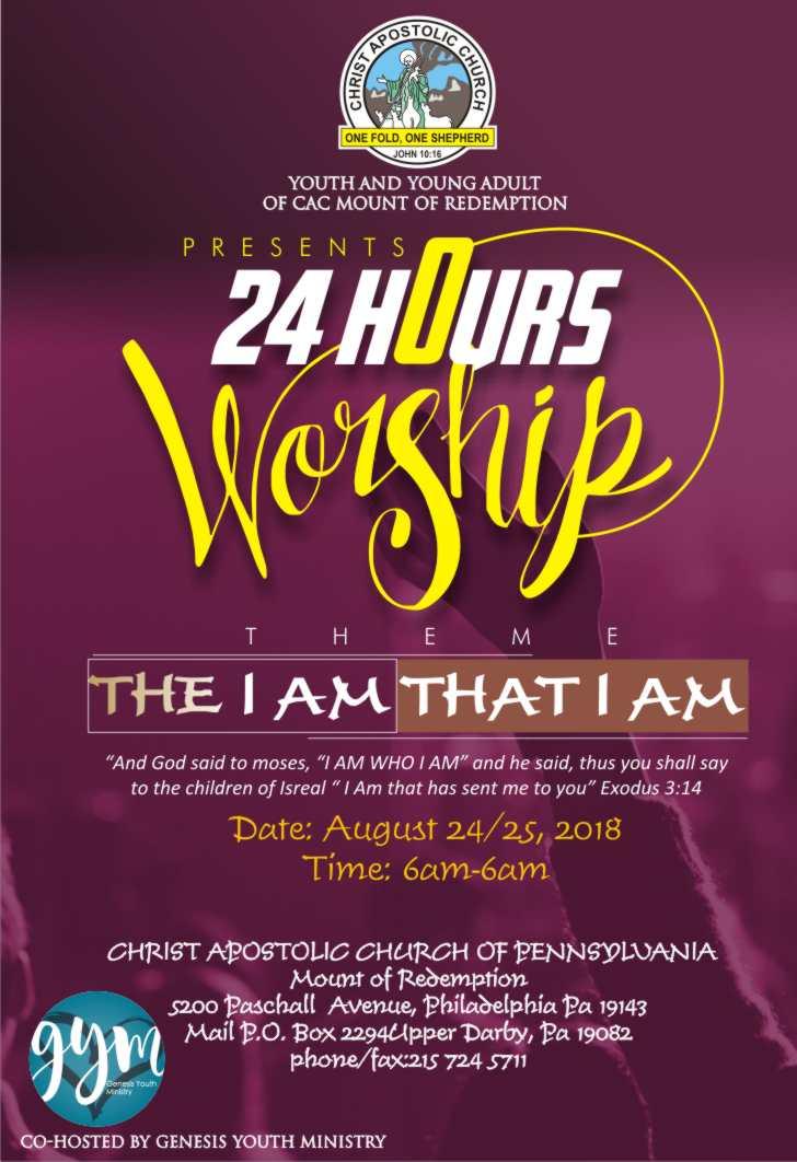 Philadelphia 24HoursWorship2018 - 23rd-24th Aug. - 6am