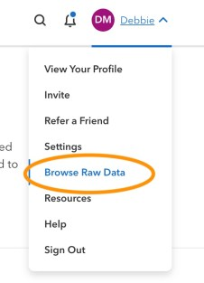 screenshot of the browse raw data button on 23andMe