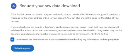 screenshot of how to request your raw data on 23andme