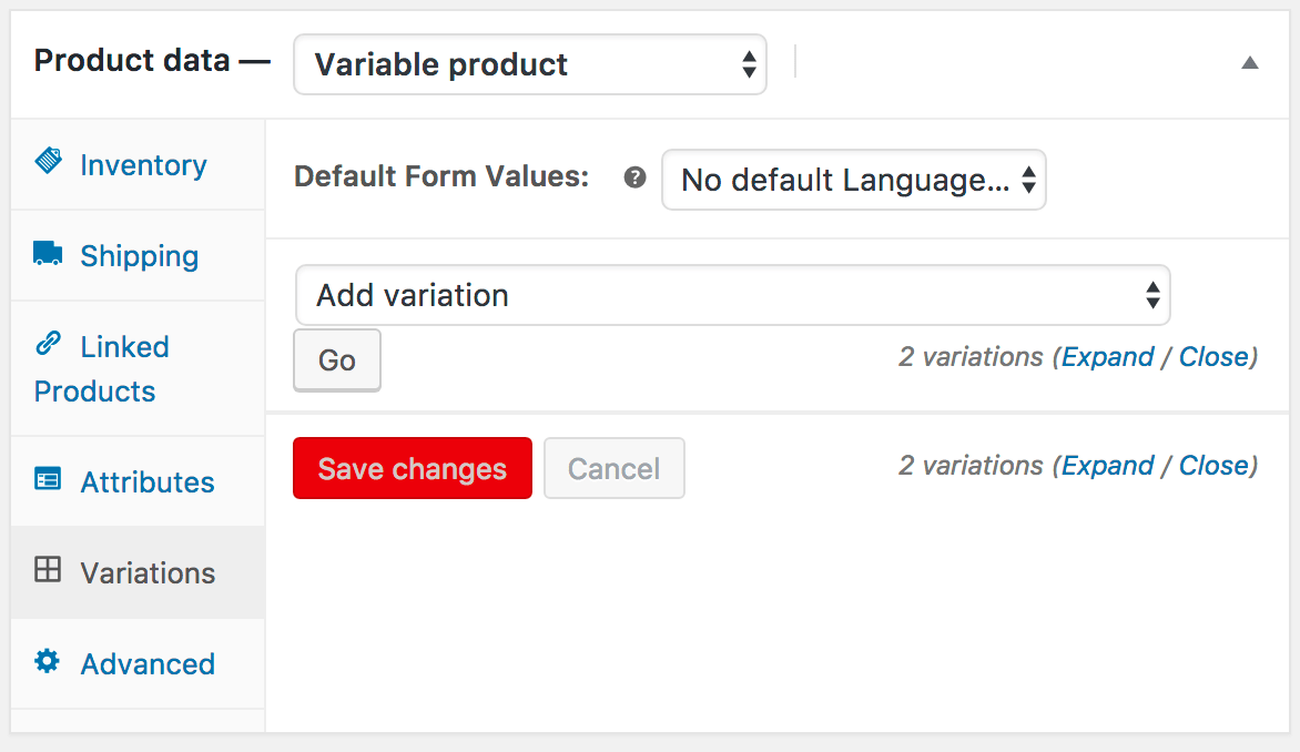 Variations not showing