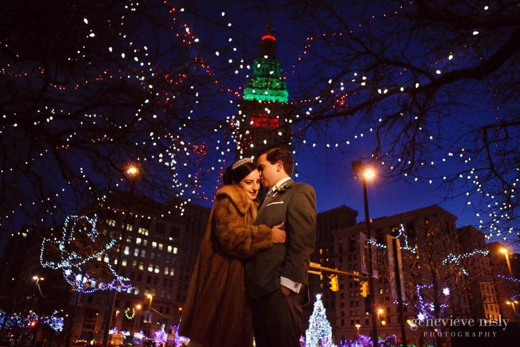 Cleveland, Copyright Genevieve Nisly Photography, Ohio, Public Square, Wedding, Winter
