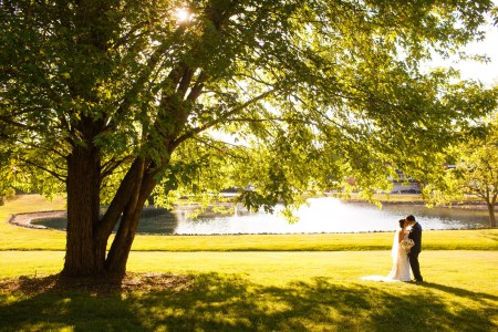 A picture taken outdoors on a sunny summer day of a bride and groom facing each other on the right side of the photo kissing on a grassy lawn under a hug tree where the trunk of the tree is on the left side and the branches and green leaves extend up and out over the right of the photo with a pond in the background at Occasions Party Center in Ohio.