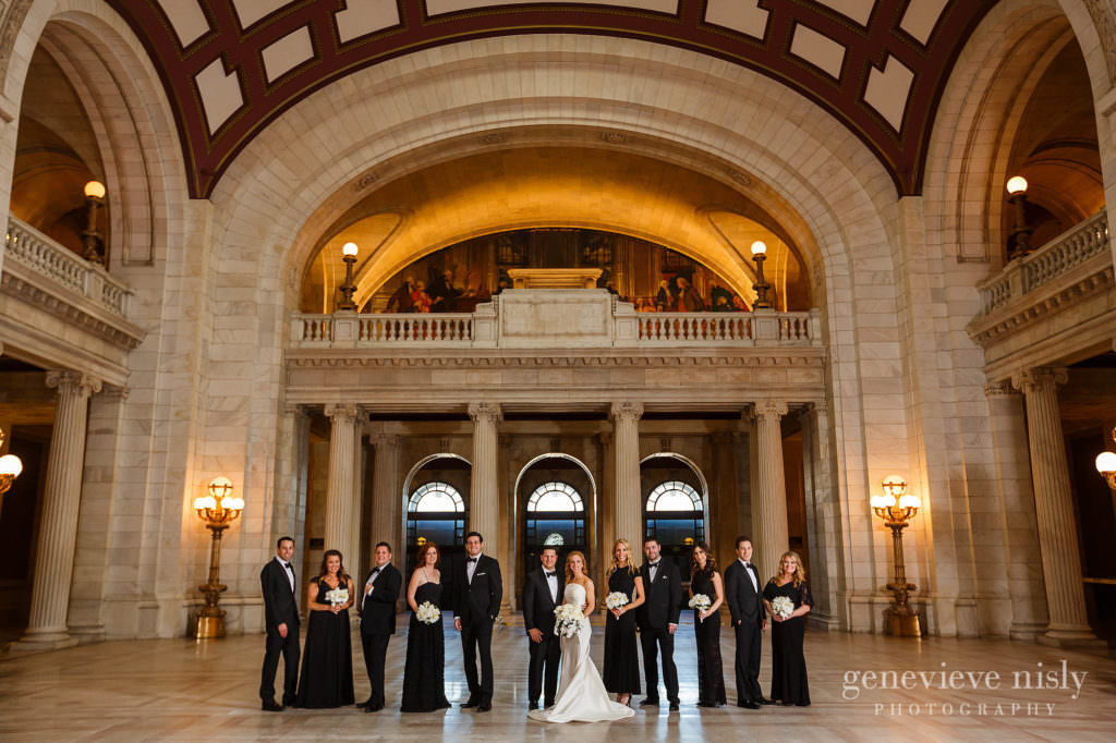 Bridal party on the main floor of the Old Courthouse in Downtown Cleveland.