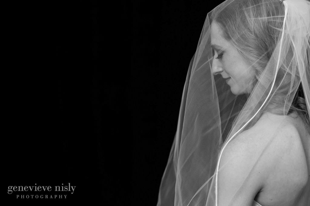 Dramatic portrait of the bride against a black background.